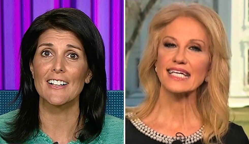 Kellyanne Conway rips Nikki Haley for Trump criticism just as husband George urges the former UN ambassador to join 'the right side of history'