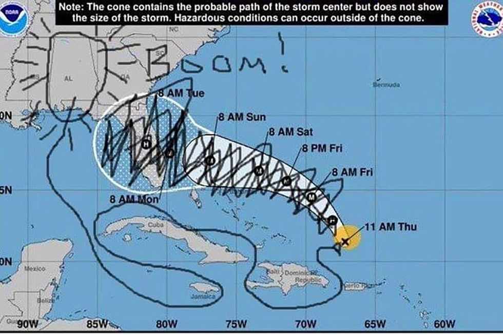 #SharpieGate: Social media explodes with hilarious drawings mocking Trump's fake Hurricane Dorian weather map