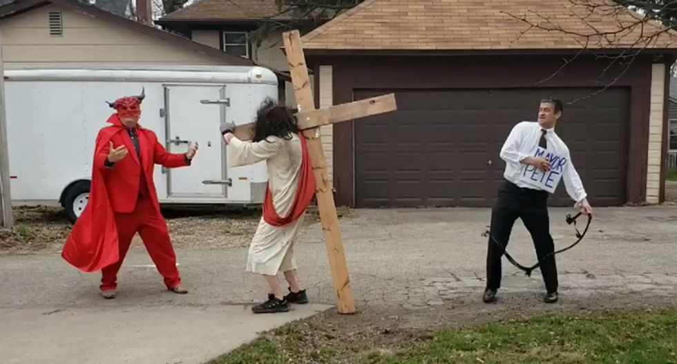 Right-wing Christians stage bizarre protest by dressing up as Pete Buttigieg and whipping Jesus