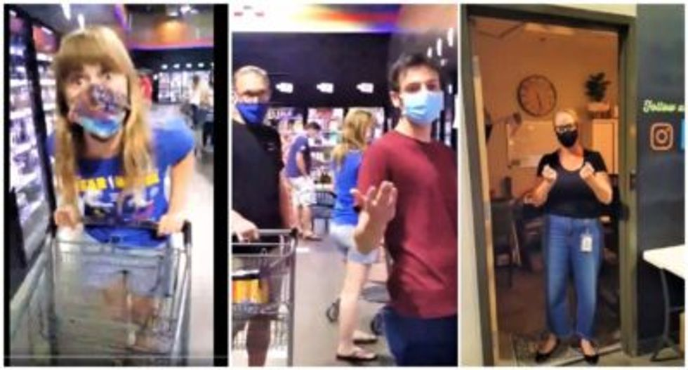 Watch: Anti-masker rants about 'Nazis' after entire liquor store yells at her for not wearing a mask