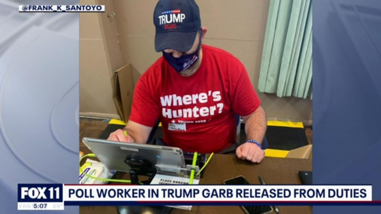 'Unacceptable': CA poll worker dismissed after viral photo showed him clad in head-to-toe 'Trump 2020' gear