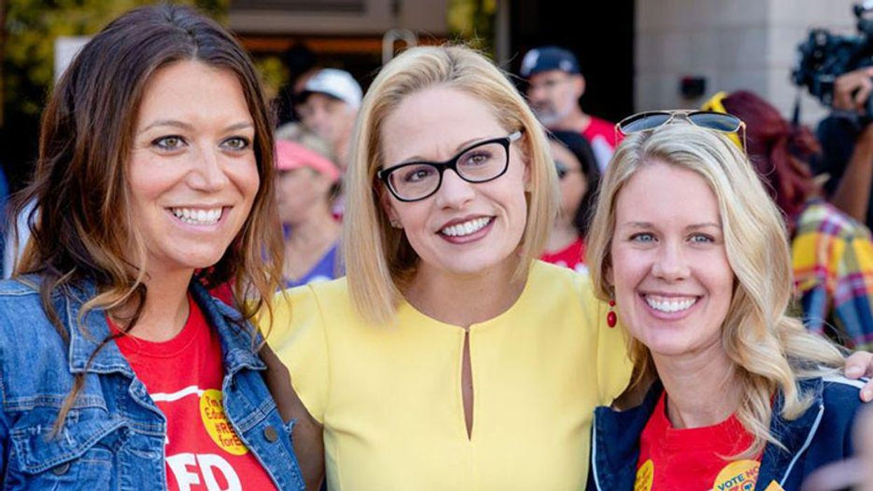 Trumpers stand up for Kyrsten Sinema — suggest bathroom protesters should be 'deported'