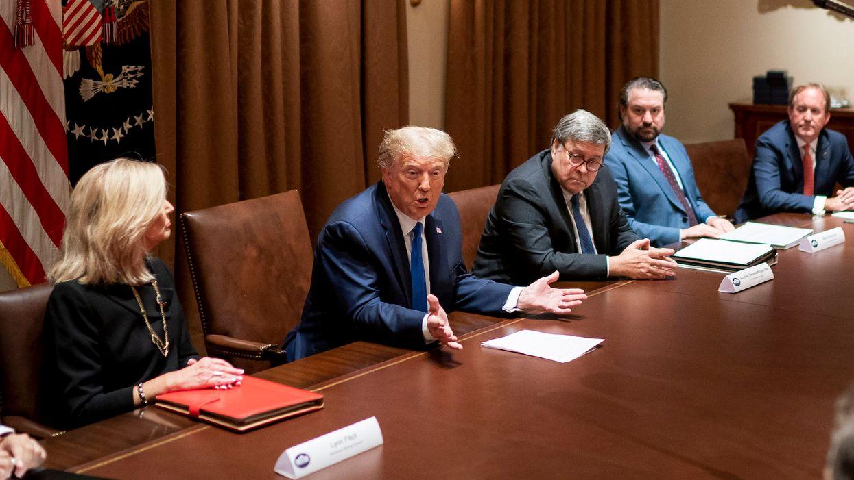 President Donald Trump, Attorney General Bill Barr cabinet room
